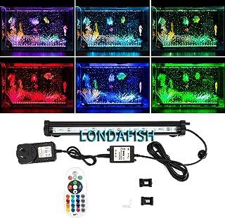 LONDAFISH水槽ライト水族館LEDライト酸素供給/魚飼育用 気泡ライト エアストーン 水槽装飾リモコン 3.8W 16色 説明書付き