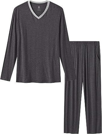JINSHI Men's Pyjamas Set Long Sleeve Top & Pants Ultra Soft Cosy Sleepwear Nightwear Lounge PJ's Set