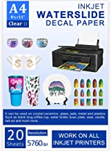 Water Slide Decal Paper Inkjet 20 Sheets A4 Size Premium Water-Slide Transfer Paper Clear Transparent Printable Water Slide Decals Perfect for Tumblers, Mugs, Glasses DIY Design