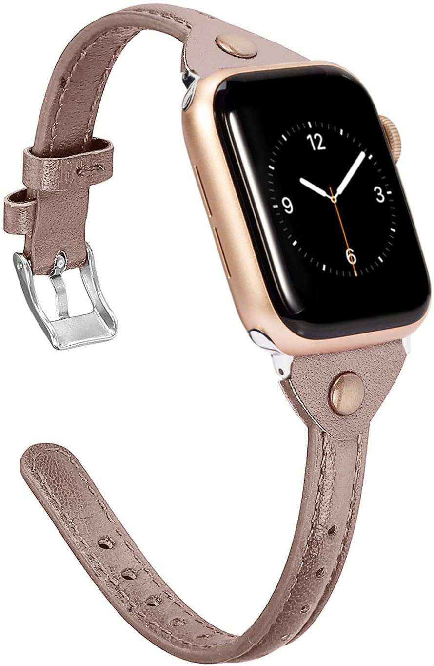 Wearlizer Thin Tan Leather Compatible with Apple Watch Bands 42mm 44mm for iWatch SE Slim Strap Womens Mens Wristbands Leisure Narrow Bracelet (Metal Silver Buckle) Series 6 5 4 3 2 1 Edition Sports