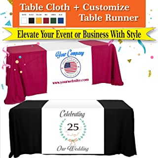 Custom 6 ft Table Cloth and Table Runner 36x72 (Combo) Add your TXt or Logo Free Design