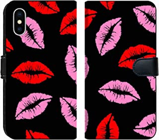 MSD Premium Phone Case Designed for iPhone Xs Max Flip Fabric Wallet Case Image ID: 14703773 Pink and Red Kiss Lipstick Seamless Pattern Background