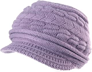 Comhats Womens Knit Newsboy Cap Warm Lined Winter Hat 100% Soft Acrylic with Visor