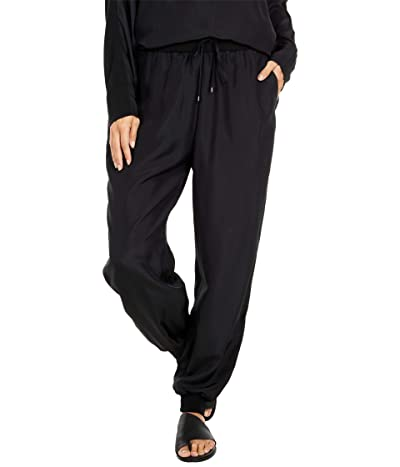 Eileen Fisher Ankle Slouch Pants with Knit Cuff (Black) Women