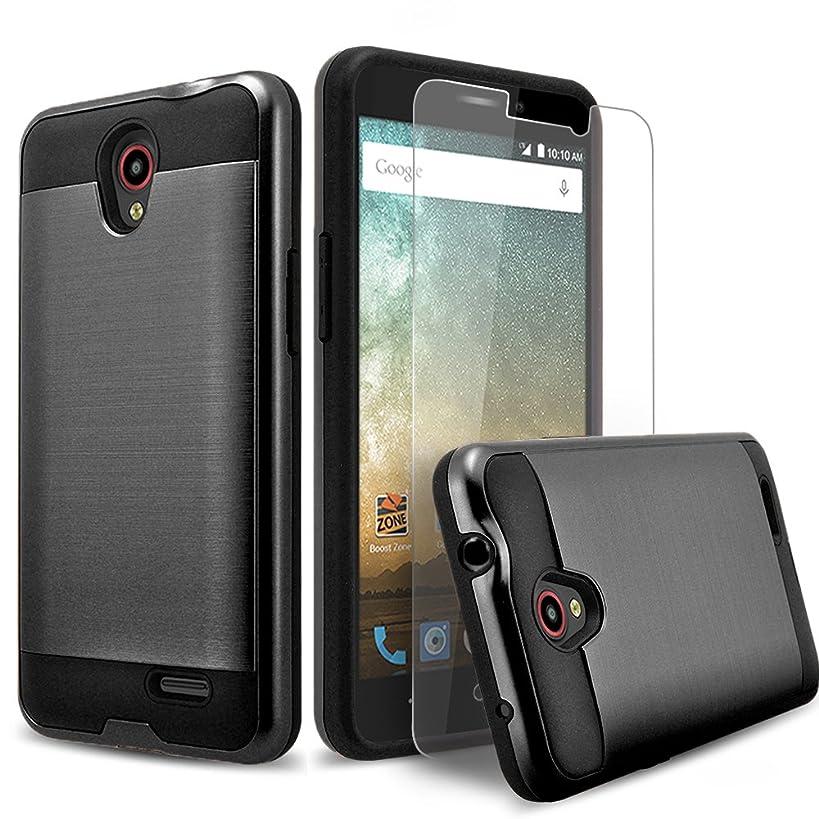 Circlemalls Shockproof Protective Phone Case Cover and Stylus Compatible for ZTE ZFive 2 LTE/ZTE Maven 3 / ZTE Overture 3 / ZTE Prestige 2 / ZTE Sonata 3, with [Premium Screen Protector]-Black
