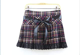 Sommer Herbst Mädchen Eine Linie Schottland Rock Red Kilt Plissee Plaid Rock Teen Mädchen Frauen Spitze Fliege Tanzröcke