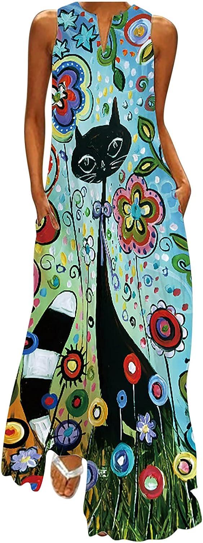 Women's Notch V Neck Sleeveless Maxi Dress with Pocket Sunflower Peacock Feather Black Cat Dandelion Sundress Gowns