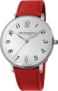 Bruno Magli Women's Roma 1221 Swiss Quartz White Dial Italian Smooth Leather Strap Watch