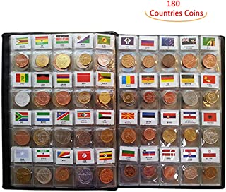 Coin Collection Set Fine Coins Nations Collection Coins Starter Kit 100% Original Genuine with Leather Collection Album Country Flag and Name (180 Countries Coins)