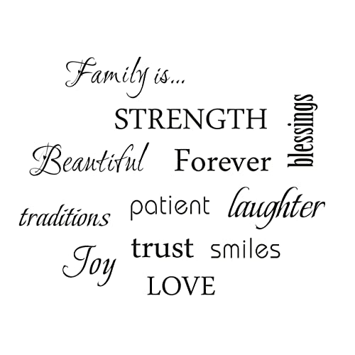 LUCKKYY Family Wall Decal~ Set of 12 Family Words Quote Vinyl Family Wall  Decal Family 6c3afcbe73d9