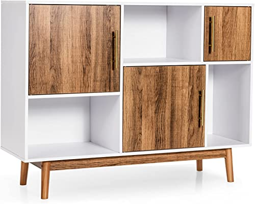 discount Giantex Sideboard Storage Cabinet W/Storage popular Compartments, Doors and Wood outlet sale Legs, Display Cupboard Cabinet for Home&Office, Dining Room,Entryway,Living Room Television Stand (White&Coffee) outlet online sale