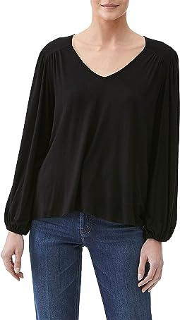 Marlena Luxe Jersey V-Neck Ballon Sleeve Top