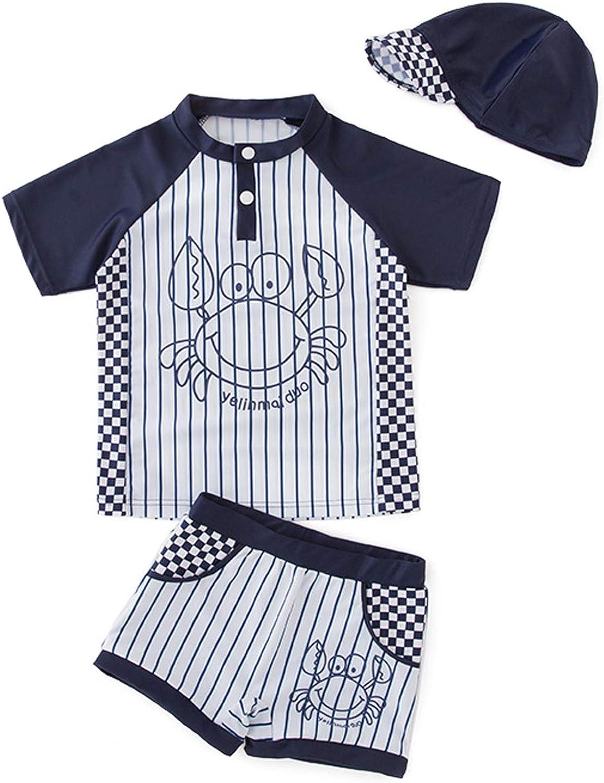 Wemi Little Boys Toddler Crab Swimsuit Short Sleeve Rashguard 3Pc Swim Trunk Hat Set