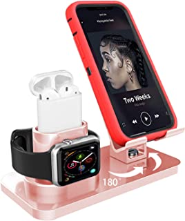Soporte de Carga 3 en 1 para Apple Watch iPhone AirPods Soporte,iWatch Soporte Stand,Cargador Dock Soporte Docking Estación de Carga Station Soporte para iPhone/Samsung/iPad Pro Smartphone (Oro rosa)