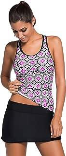 Women's Halter Printed Tankini Top with Skirted Bikini Bottom Swimsuit Set