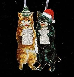 Caroling Kittens Ornament Handcrafted Wood, Black Tuxedo Cat Orange Cat, Musician Cat Lover Gift, Wool Knit Hat Santa Hat, Christmas Carols