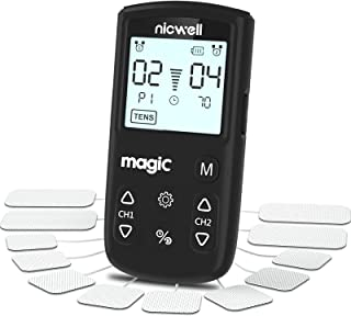 TENS Unit Muscle Stimulator - Nicwell TENS+EMS+Massage Muscle Stimulator Machine with Dual Channel and 12 Pads, 22 Modes f...
