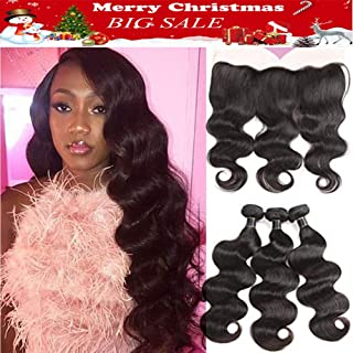 Brazilian Virgin Hair Body Wave Lace Frontal Closure with Bundles Unprocessed Human Hair with Closure Ear to Ear Lace Frontal with Bundles Body Wave with Frontal (18 20 22+16, Natural Color)