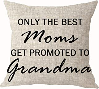 Summerr Only The Best Moms Get Promoted to Grandma Best Throw Pillow Cover Cushion Case Cotton Linen Home Office Decoration Square 18X18 Inch (A)