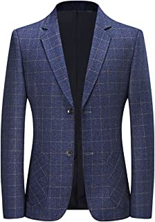 YOUTHUP Mens Slim Fit Blazer 2 Button Check Suit Jackets Formal Plaid Blazers Jacket