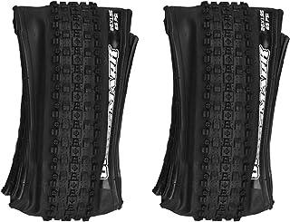 RANRANHOME Mountainbike-skyddsdäck, 2-pack vikbar/utvikts MTB prestanda-däck slanglösa, 60TPI cykeldäck med korsmönster lå...