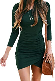 Women Fashion Ruched Elegant Bodycon Long Sleeve Wrap Front Solid Color Casual Basic Fitted Short Dress