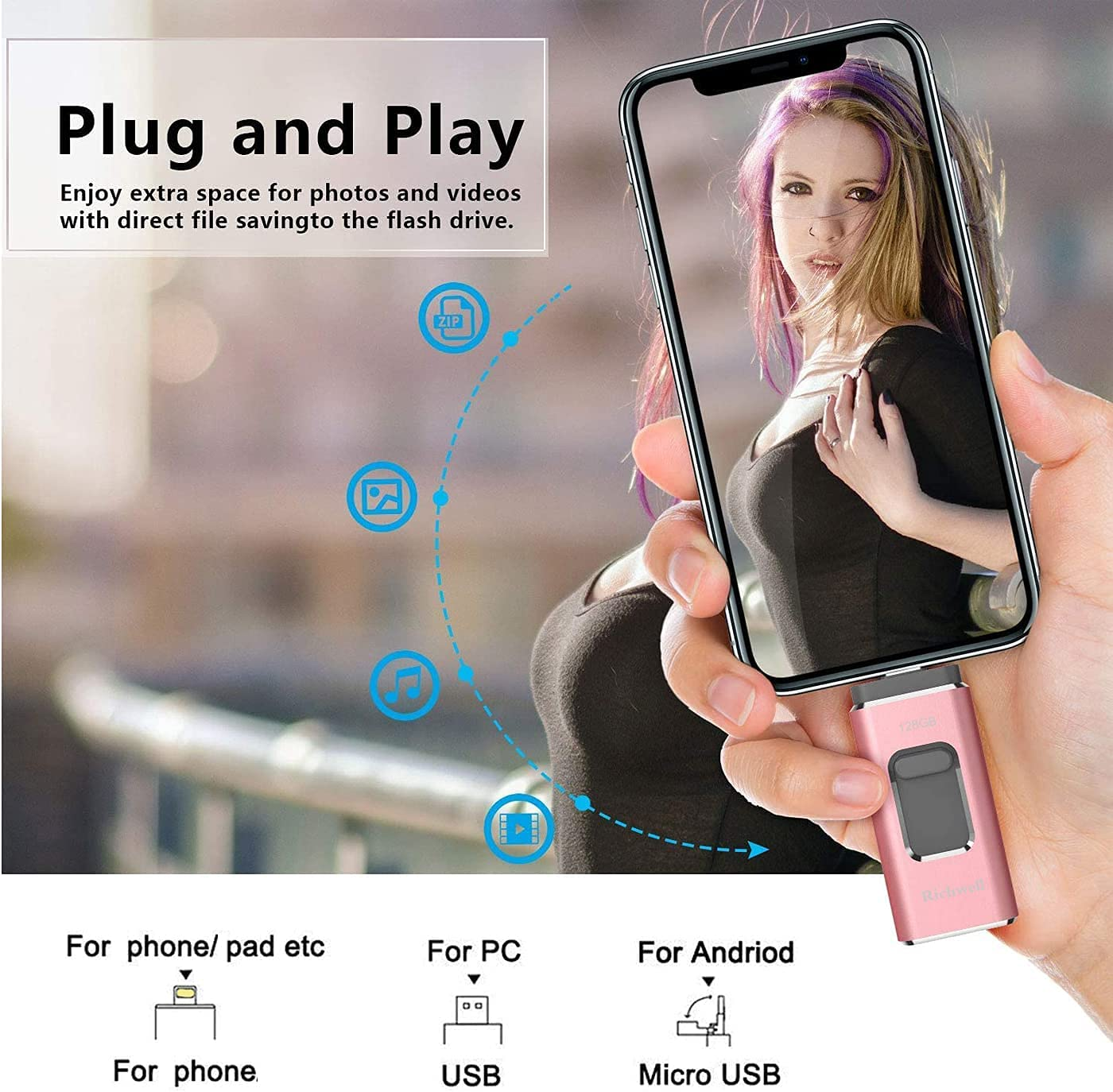 USB Flash Drive 128GB for Phone Photo Stick Thumb Drives USB3.0 iOS Memory Stick 3in1 External Storage Richwell Compatible Phone Pad Mac Android and Compute Pink-XT 128G