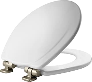 MAYFAIR Toilet Seat 830NISL 000 with Chrome Hinges will Slow Close and Never Come Loose, ROUND, Durable Enameled Wood, White