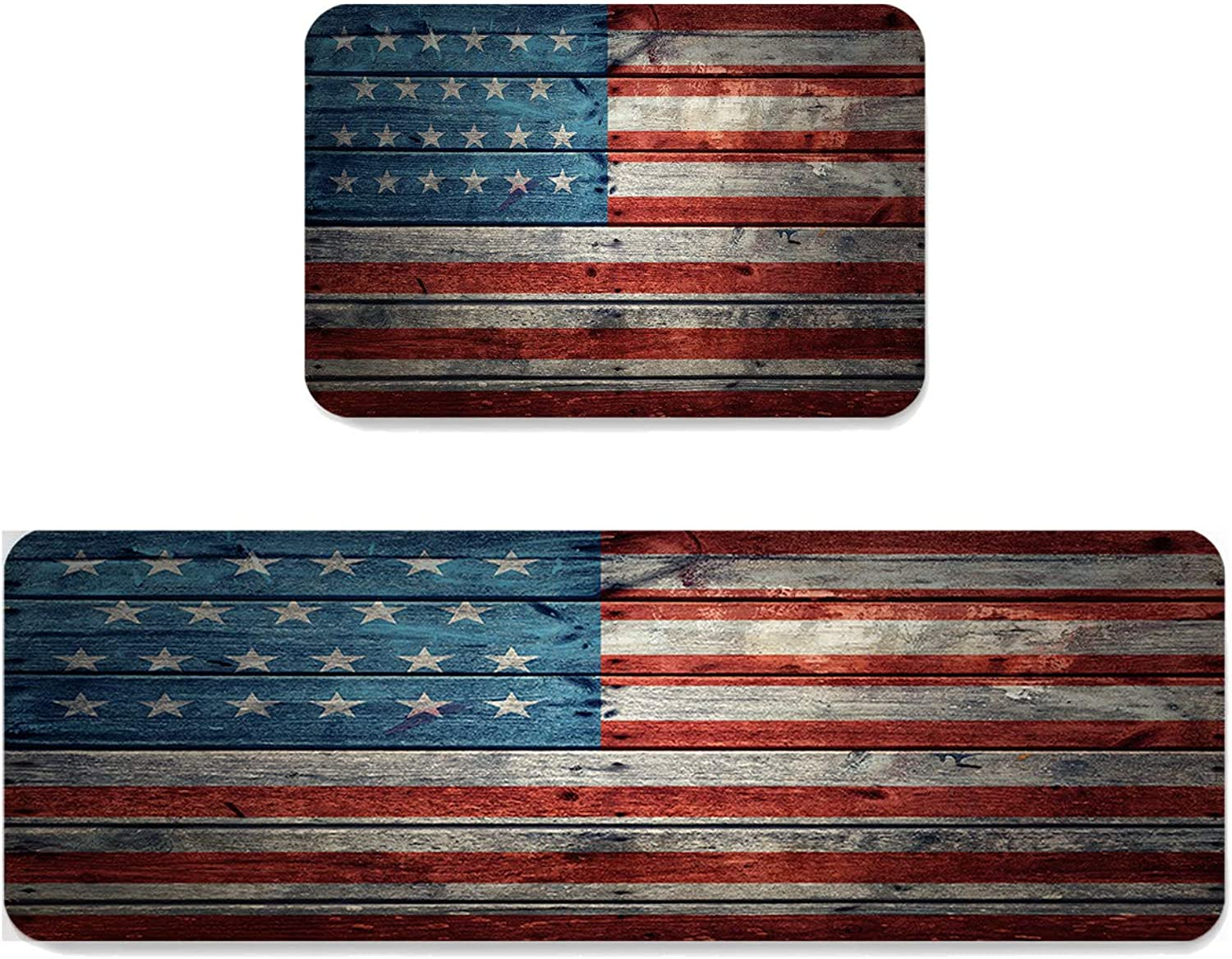 2 Piece Kitchen Rug Sets Floor Mats Non-Slip Rubber Backing Area Rugs Vintage Wooden Board American Flag Print Doormat Washable Carpet Inside Door Mat Pad Sets (23.6  x 35.4 +23.6  x 70.9 )