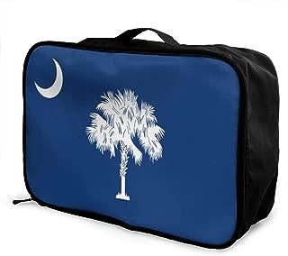 South Carolina State Flag Travel Bags Portable Handbag In Trolley Handle Luggage Bag Tote Bag