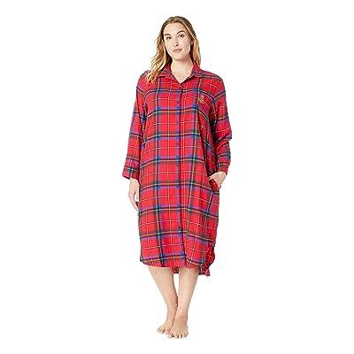 LAUREN Ralph Lauren Plus Size Long Sleeve Ballet Length Sleepshirt (Red Plaid) Women