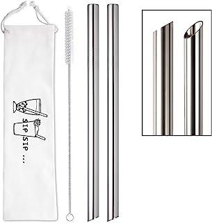 "[Angled Tips] 2 Pcs Jumbo Reusable Boba Straws & Smoothie Straws, 0.5"" Wide Stainless Steel Straws, Metal Straws for Bubble Tea/Tapioca Pearl, Milkshakes,Smoothies | 1 Cleaning Brush & 1 Case"