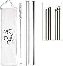 "[Angled Tips] 2 Pcs Jumbo Reusable Boba Straws & Smoothie Straws, 0.5"" Wide Stainless Steel Straws, Metal Straws for Bubble Tea/Tapioca Pearl, Milkshakes,Smoothies   1 Cleaning Brush & 1 Case"
