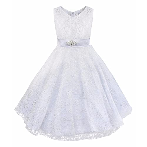 be3b586aece iEFiEL Kids Big Girls V-Neck Lace Flower Dress Graduation Pageant Ball Gown