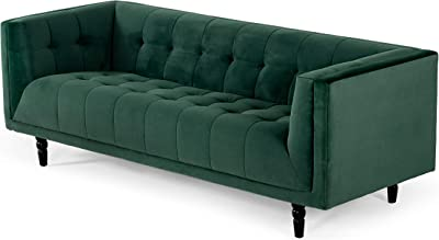 Limari Home Ferdinand Collection Modern Style Fabric Upholstered Biscuit Tufted Sofa with Knotted Wood Foot, Green