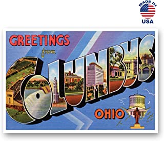 GREETINGS FROM COLUMBUS, OH vintage reprint postcard set of 20 identical postcards. Large Letter Columbus, Ohio city name post card pack (ca. 1930's-1940's). Made in USA.