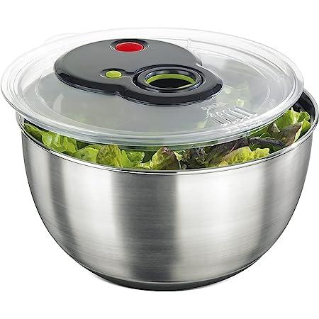 Emsa Turboline Essoreuse à salade 4,5 L, Bol en inox pour un service stylé, Fentes de drainage intégrées, Bouton turbo pour un essorage express, Base antiadhérente, Compatible lave-vaisselle 513441