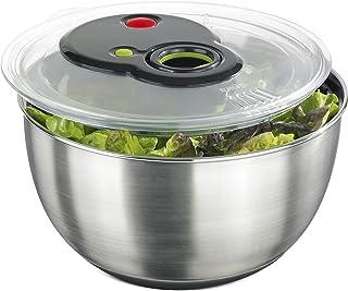 Emsa Turboline Essoreuse à salade 4,5 L, Bol en inox pour un service stylé, Fentes de drainage intégrées, Bouton turbo pou...
