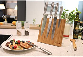 Coninx Magnetic Knife Holder with Powerful Magnet - Bamboo Wood Magnetic Knife Guard Holder, Organizer Block Without ...