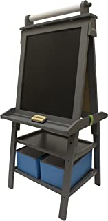 Little Partners Deluxe Art Easel - Two Sided A-Frame Paint Easel, Chalk Board & Magnetic Dry Erase - w/Storage, Supply Holder & Paper Feed - Art Station & Educational Tool for Toddlers (Earl Grey)