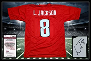 Lamar Jackson Autographed Signed Signed Louisville Red Jersey JSA COA Unframed