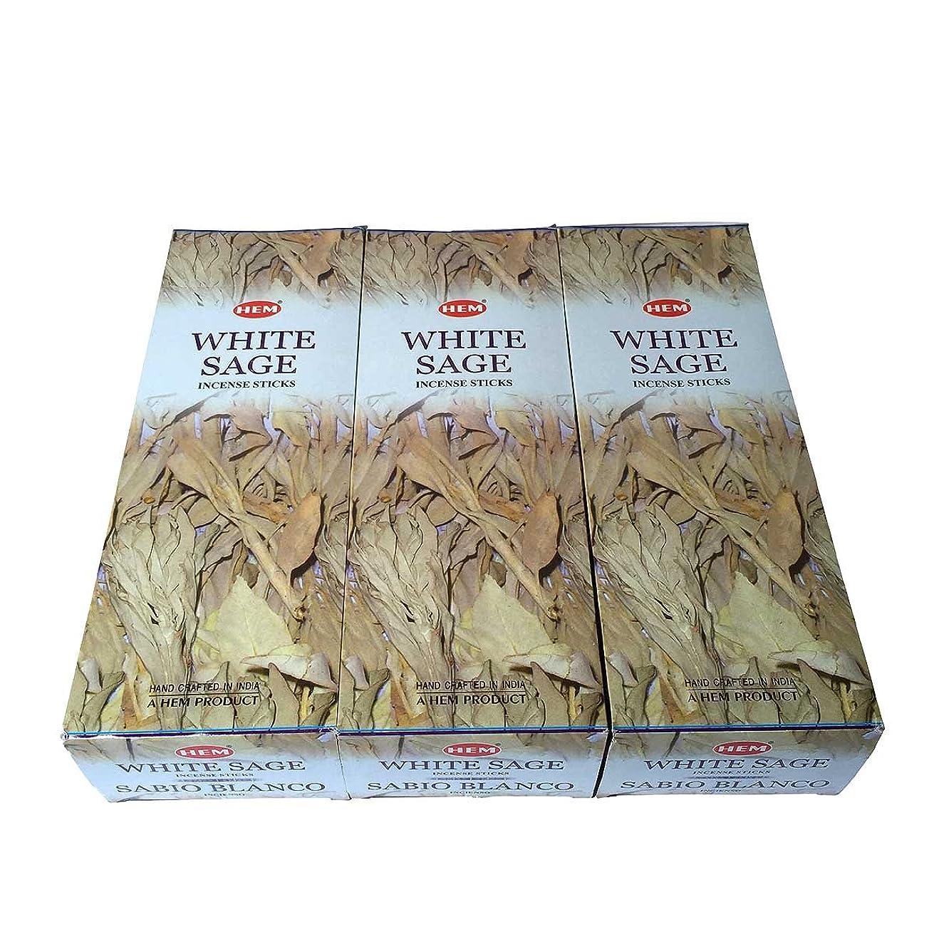 断片想定コメンテーターホワイトセージ香 スティック 3BOX(18箱)/HEM WHITE SAGE/ インド香 お香 [並行輸入品]