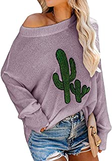 GOLDSTITCH Women's Sweaters Oversized Batwing Pullover Loose Off The Shoulder Knit Jumper - Purple - Medium