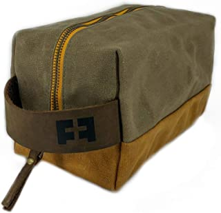 the DOPP KIT | durable waxed cotton canvas toiletry bag with leather handle (SandDune)