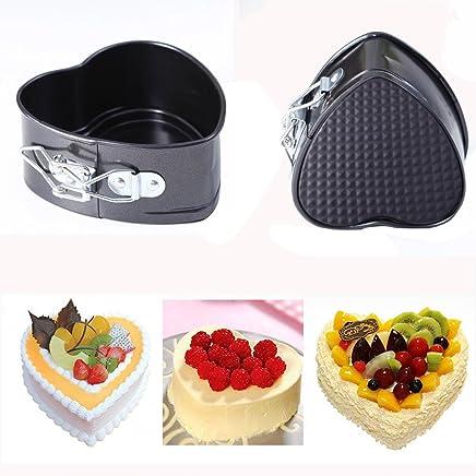 Mini Cake Pan, 4 Inches Nonstick Springform Pan Leakproof Mini Cake Pan Heart Shape Cheesecake