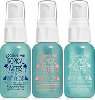 Tropical Waters 3 Piece Travel Set, 1 oz. Bottles, MADE IN USA Rose Water Make Up Setting Spray, Peppermint Cooling Spray ...