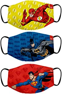 Bon Organik Superman Batman and Flash (OFFICIAL MERCHANDISE) 2 Ply Printed Cotton Cloth Face Mask Bundle For Kids (Set Of ...