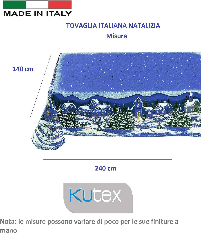 Beige, 140 x 180 cm KUTEX Exclusivo mantel de Navidad moderno rectangular de 100 /% algod/ón con impresi/ón Eco-Friendly Dibujo Paisaje navide/ño