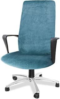 Best CAVEEN Computer Office Chair Cover Stretch Velvet Fabric Rotating Chair Slipcovers Removable Washable Anti-dust Chair Seat Covers Furniture Protector Covers Large Sky Blue Review