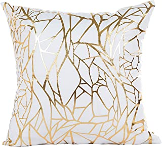 Vinerstar White Sofa Throw Pillow Covers 18 x 18 (45cm x 45cm) Gold Stamping Love Tree Geometric Square Decorative Super Soft Cushion Cover for Sofa Couch Patio (Irregular)